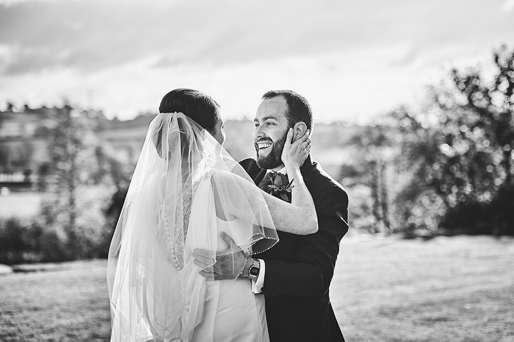 Natural wedding photography during first look