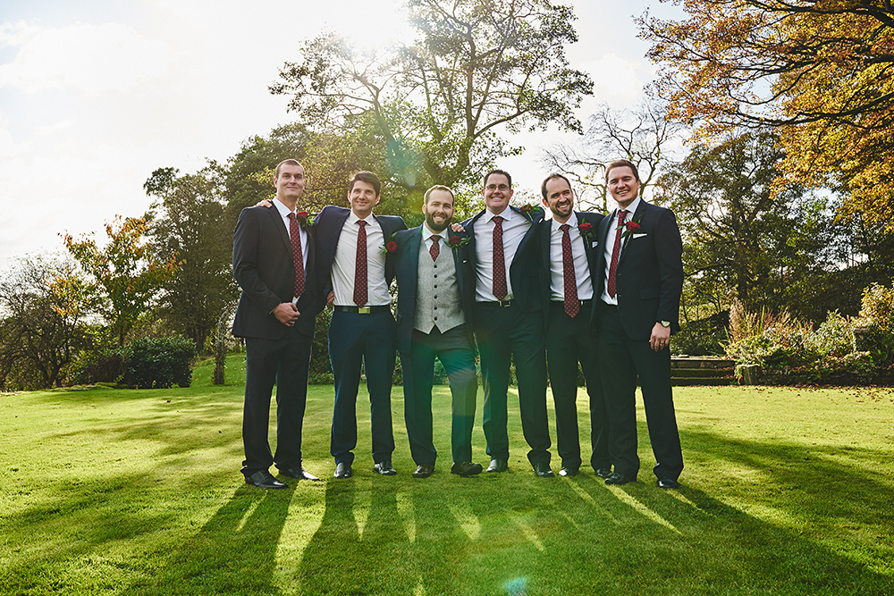 The groomsman at The Ashes barns wedding venue in Staffordshire