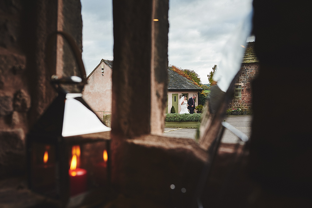 The bride leaving The Old Diary at The Ashes wedding venue