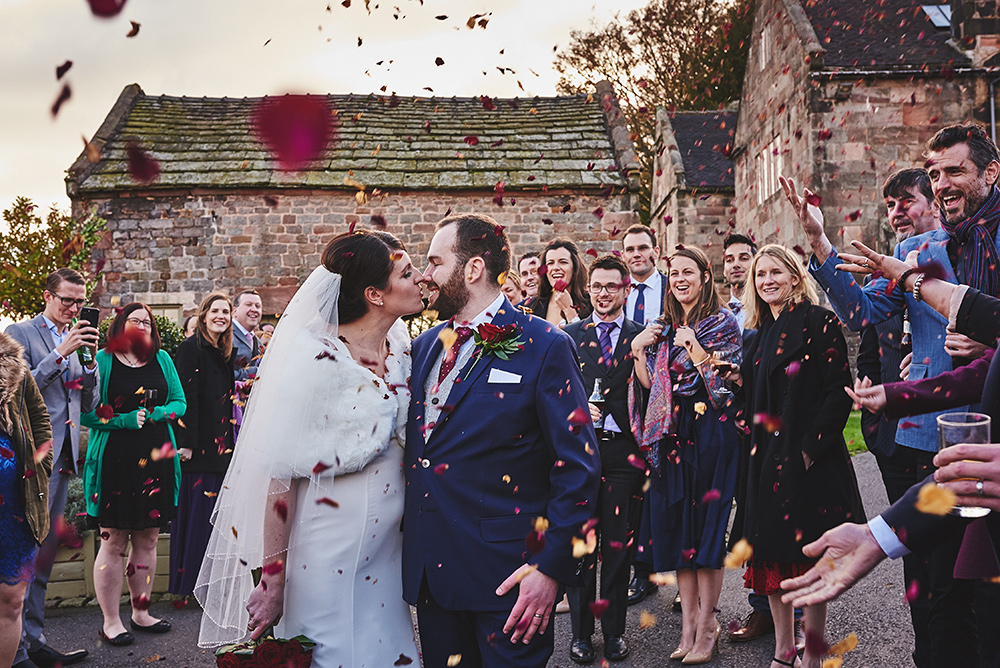 Confetti at The Ashes Barns wedding venue in Staffordshire
