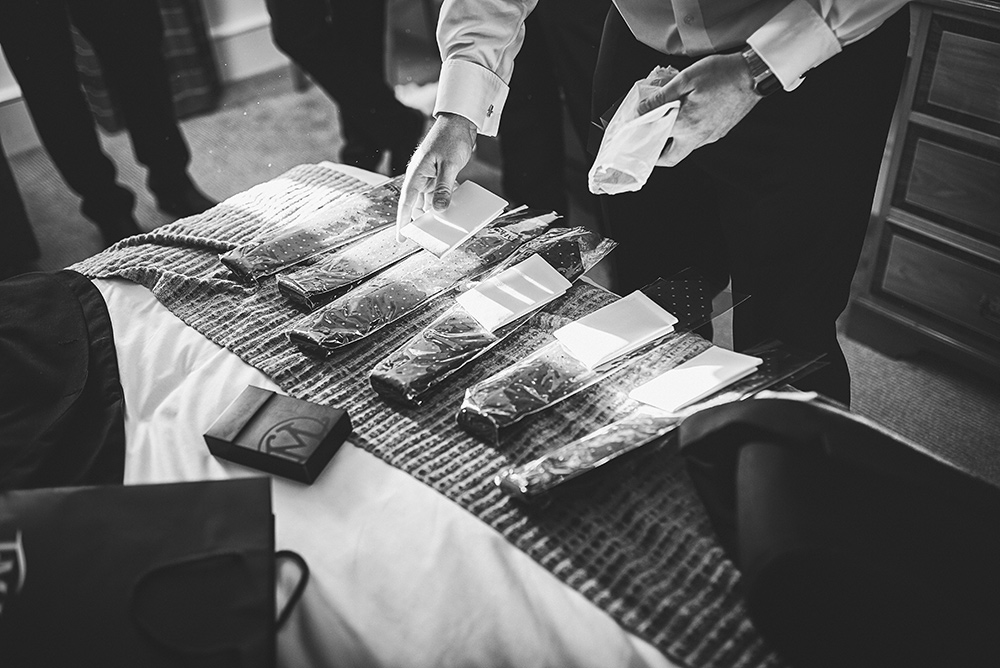 The groomsman getting ready at The Moat House in Stoke-on-Trent