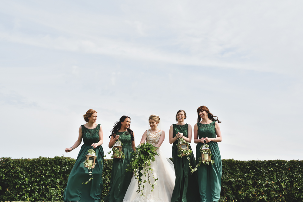 Bridesmaids having fun - Sandhole Oak Barn Wedding