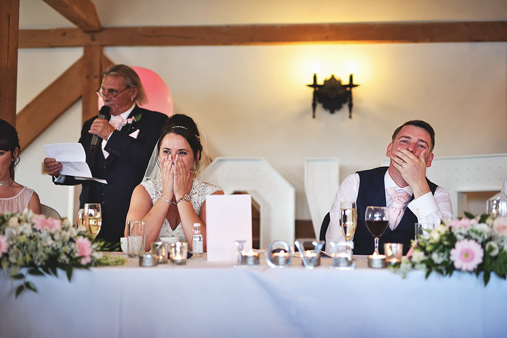 Speeches at Sandhole Oak Barn Wedding in Cheshire
