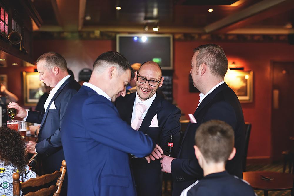 Groomsman meet for a beer at The Wagon & Horses - Sandhole Oak Barn Wedding