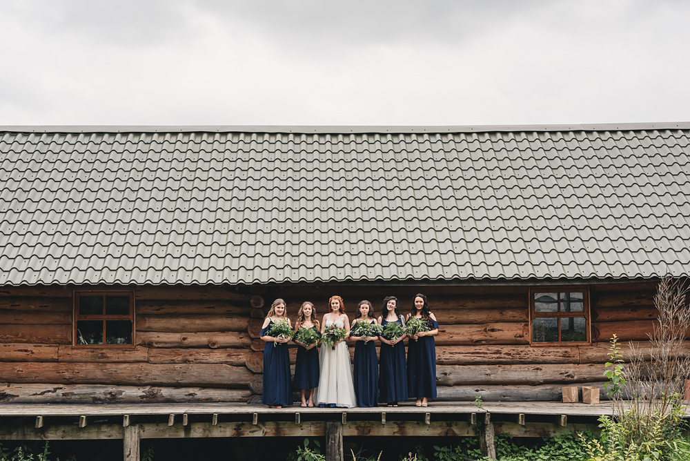 Bride and her bridesmaids at Whitebottom Farm